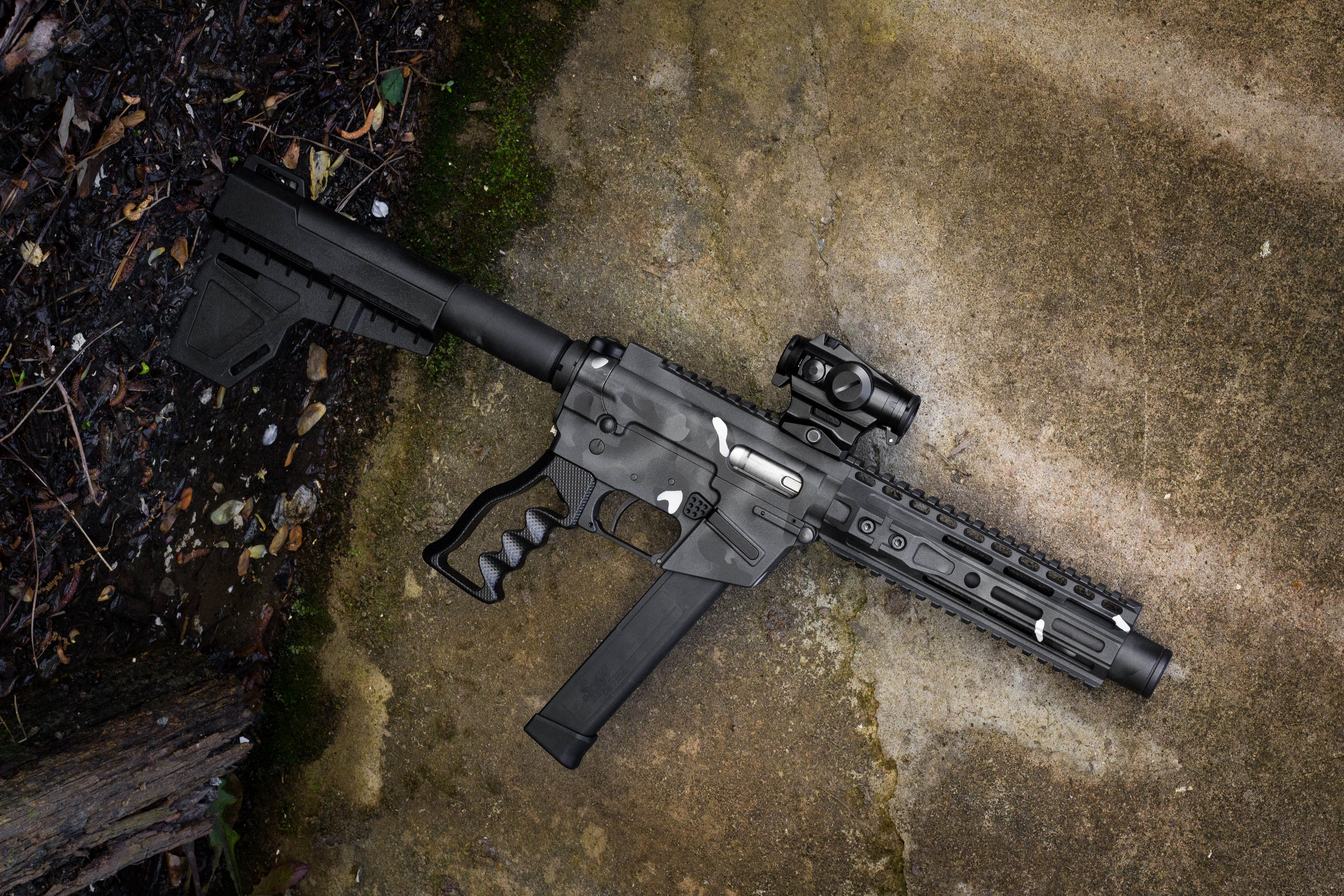 AR-9 with custom Cerakote job