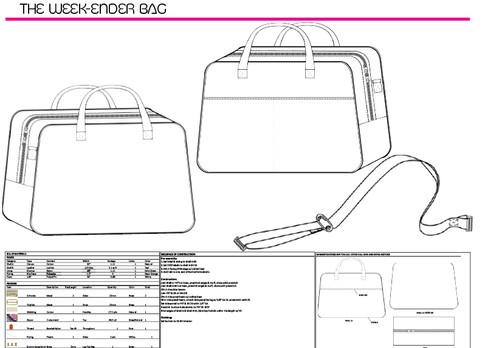 Week-Ender Bag Tech Drawings