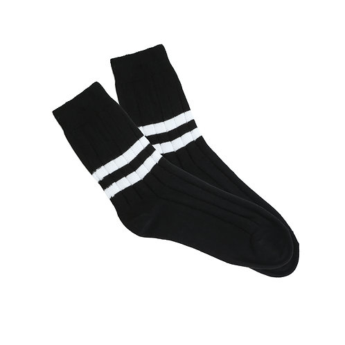 Black - Double White Stripe W