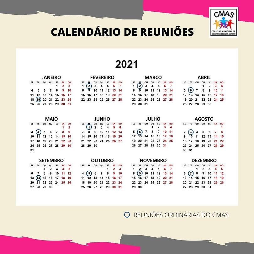 calendário REUNIÕES ORDINÁRIAS DO CMAS 2