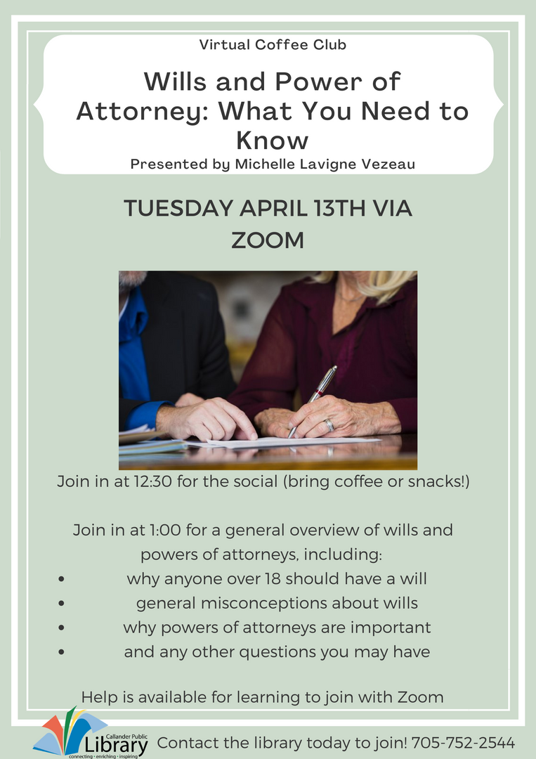Wills and power of attorney Coffee Club