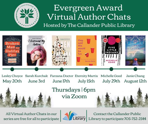 Evergreen Award Author Talks Calendar