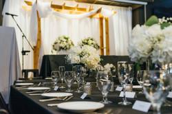 Wedding backdrop and table setting