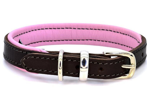 D&H Collar Padded Leather Pink/Brown