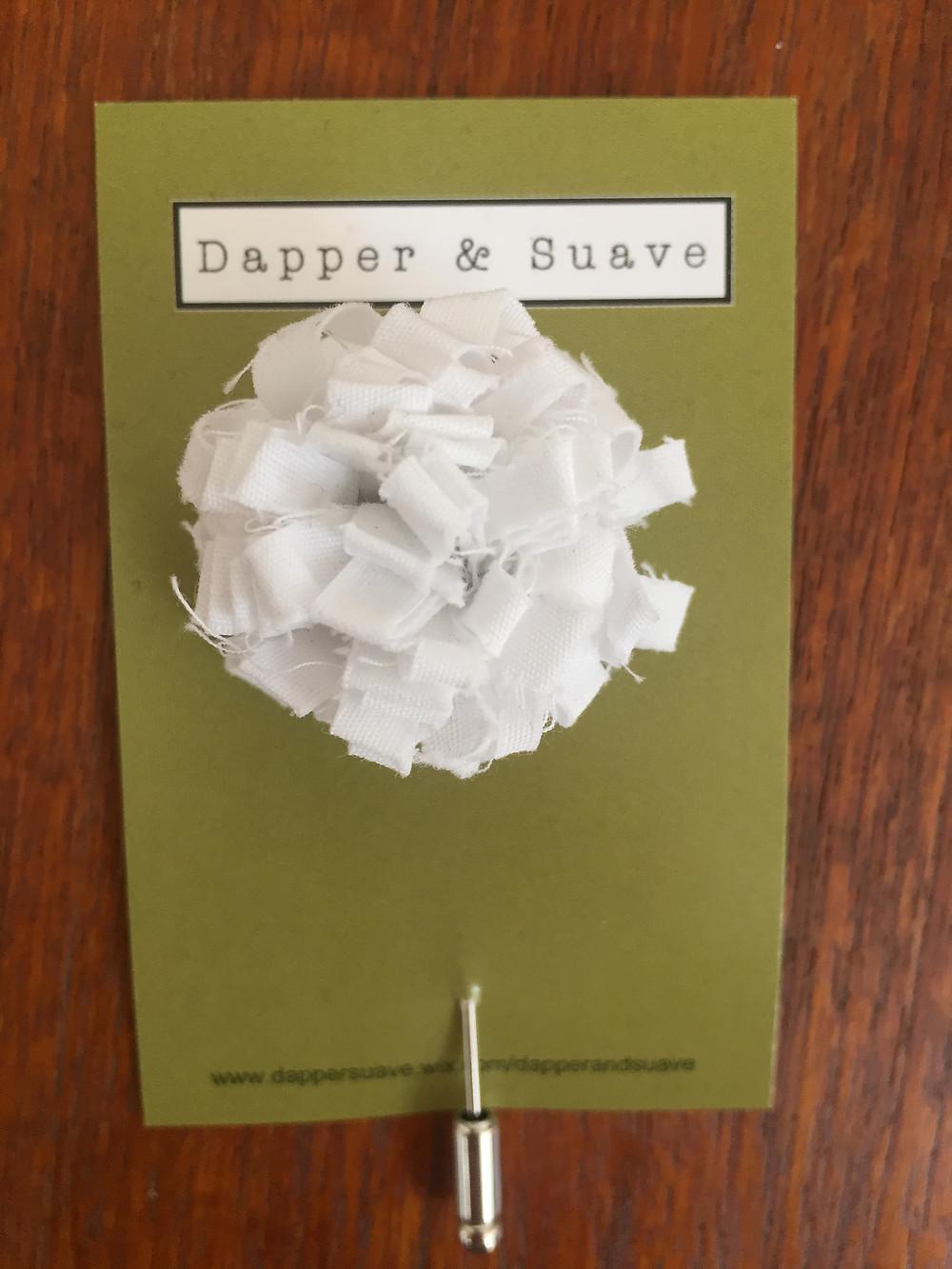 Dapper & Suave White Long Lapel Pin