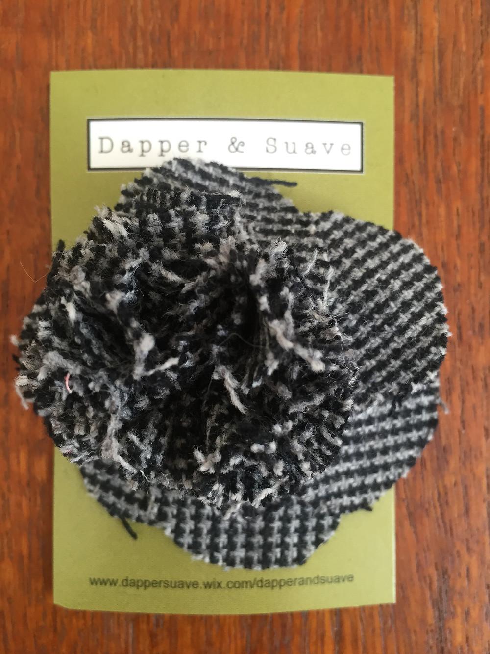 Dapper & Suave Large Black Tweed Lapel Pin