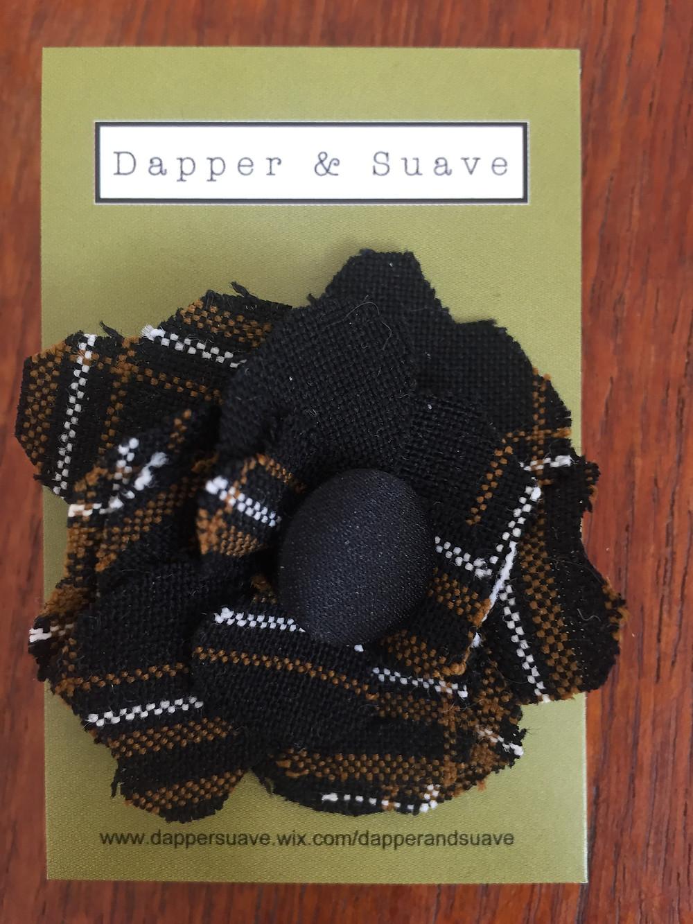 Dapper & Suave Black Tweed Button Lapel Pin
