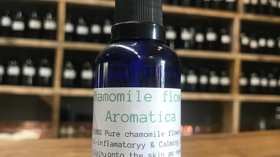 Chamomile flower Aromatic Water - 50ml blue bottle with a spray top