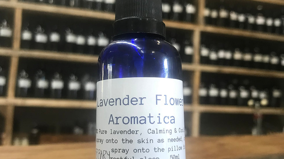 Lavender Flower Aromatic Water - 50ml blue bottle with spray top