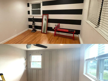 Board and Batten Accent Wall Before and After