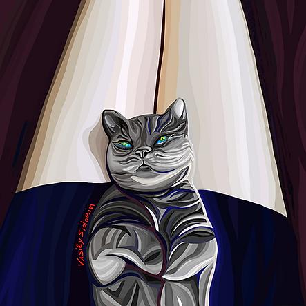 котик на коленках | кот  | Василий Сидорин | VASILY SIDORIN | sidorin.info | Artmagic