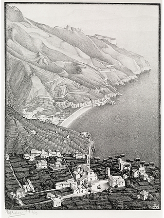 Равелло и побережье Амальфи | Ravello and the Amalfi coast | Мауриц Эшер | M.C. Esher | Landscape | пейзаж | art.vin | Artmagic | Артмагия
