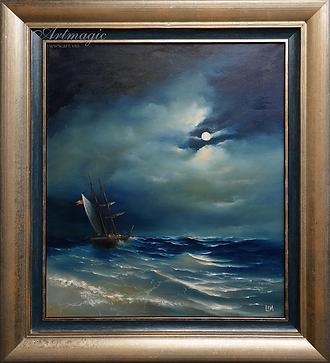 Под луной | Сергей Лим | художник-маринист | купить морской пейзаж | купить картину маслом | купить картину с морем | Артмагия | Artmagic | artvin