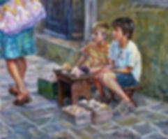 Будва. Юные торговцы морскими сувенирами  | Антон Колоколов | пейзаж | работы художника | кпить картину в Москве | Artmagic | Артмгия | artvin