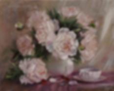 Пионы с вишней | Анна Никифорова | купить картину маслом | натюрморт | натюрморт купить | купить картину в Москве | Артмагия | Artmagic | art.vin