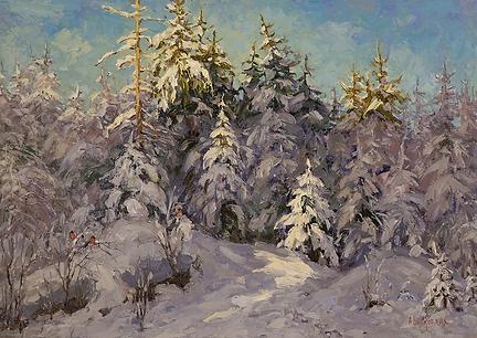 Снегири | Андрей Вилков | пейзаж | зимний пейзаж | купить картину в москве | Артмагия | Artmagic | artvin