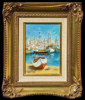 Marine dock boat scene | Хулио Карбальоса | Julio Carballosa | Landscape | пейзаж | art.vin | Artmagic | Артмагия