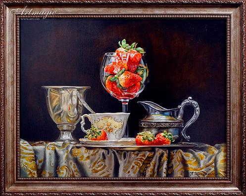 Натюрморт с клубникой  | Валерий Шишкин | Valerii Shishkin | Landscape | абстракция | art.vin | Artmagic | Артмагия
