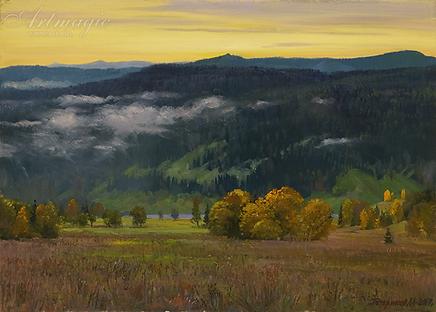 утро река сим | Гора | Алексей Петриков | Alex Petrikov | Landscape | пейзаж | природа | art.vin | Artmagic | Артмагия