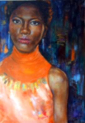 коралловое платье | портрет мулатки | Малахова Светлана | Svetlana Malahova | portrait | портрет | art.vin | Artmagic | Артмагия