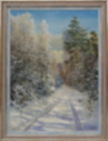 под голубыми небесами | Сергей Дорофеев | зимний пейзаж | купить картину маслом | Купить зиний пейзаж | Артмагия | Artmagic | art.vin