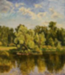 пруд в ботаническов саду  | купить пейзаж | Федор Парфенов | купить картину в Москве | купить пейзаж | галерея Москвы | Артмагия | Artmagic | artvin