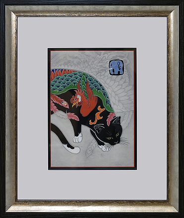 Кот с петухом | Kazuaki Kitamura Horitomo | Cat | Котики | art.vin | Artmagic | Артмагия