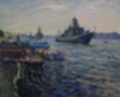 день вмф в петербурге | картина с кораблями | Дмитрий Сысоев | Dmitry Sysoev | Landscape | пейзаж | art.vin | Artmagic | Артмагия