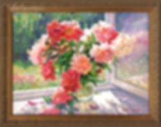Пионы на окне | Викентий Лукиянов | купить картину маслом | новинка месяца | пейзаж | пейзаж купить | купить картину в Москве | Артмагия | Artmagic | art.vin