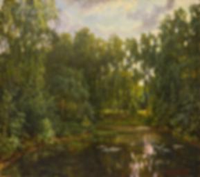 вечер у заросшего пруда | купить пейзаж | Федор Парфенов | купить картину в Москве | купить пейзаж | галерея Москвы | Артмагия | Artmagic | artvin