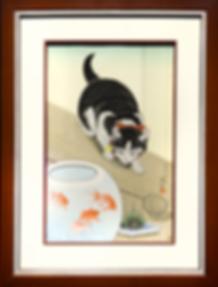 котик и золотая рыбка | Cat and the goldfish | Охара Косон | Ohara Koson | котик | art.vin | Artmagic | Артмагия