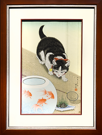 Cat and goldfish | Ohara Koson | Охара Косон | Cat | Котики | art.vin | Artmagic | Артмагия