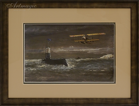 Дуврский патруль | Dover Patrol | 1914 | Гуашь | seascape | marine landscape | Морской пейзаж | art.vin | Artmagic | Артмагия