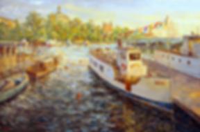 Стокгольм, у причала | Антон Колоколов | пейзаж | работы художника | кпить картину в Москве | Artmagic | Артмгия | artvin