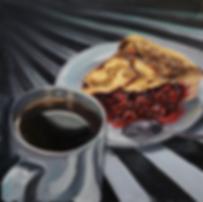 ирина сергеева | кофе и вишнёвый пирог | натюрморт | купить картину в москве | купить натюрморт в москве | артмагия | art.vin