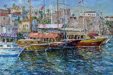 Лодки в Анталии | Антон Колоколов | пейзаж | работы художника | кпить картину в Москве | Artmagic | Артмгия | artvin