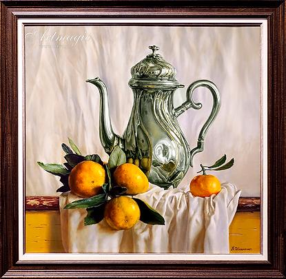 чайник с мандаринами  | Валерий Шишкин | Valerii Shishkin | Landscape | абстракция | art.vin | Artmagic | Артмагия