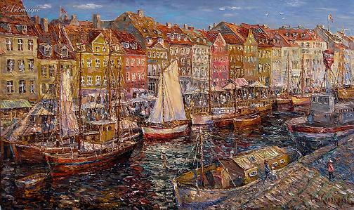 Тёпый вечер в Копенгагене  | Антон Колоколов | пейзаж | работы художника | кпить картину в Москве | Artmagic | Артмгия | artvin