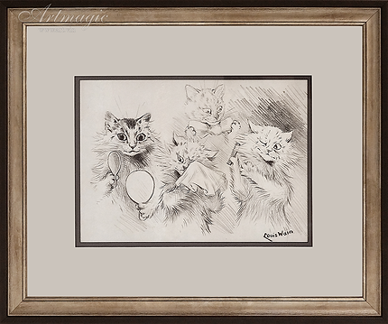 У зеркала | Louis Wain | Cat | Котики | art.vin | Artmagic | Артмагия