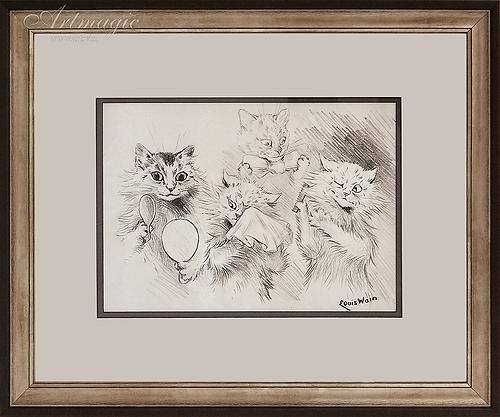 У зеркала| Louis Wain | Cat | Котики | art.vin | Artmagic | Артмагия