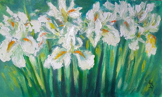 Белые ирисы | цветы | Ирина Сергеева | Irina Sergeeva | Still life | Натюрморт | art.vin | Artmagic | Артмагия