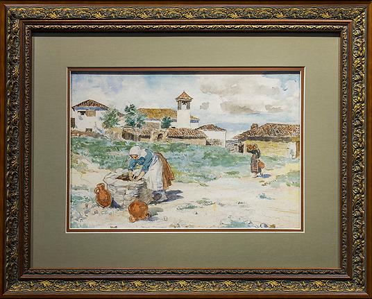 Italian women collecting water   victorian painting   Городской пейзаж   art.vin   Artmagic   Артмагия