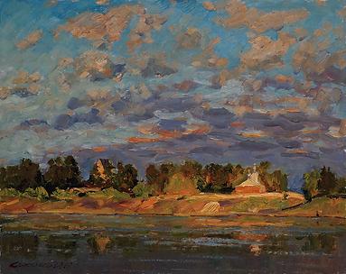 гаснет небосклон | природа в живописи | Дмитрий Сысоев | Dmitry Sysoev | Landscape | пейзаж | art.vin | Artmagic | Артмагия