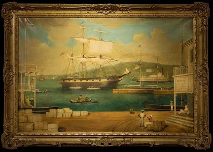 Вид на причал реки Миссисипи | View of a Missippi River Dock | XIX век | E.J. Pegrum | Е. Дж. Пегрум | seascape | marine landscape | Морской пейзаж | art.vin | Artmagic | Артмагия