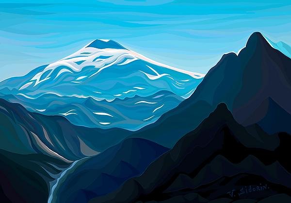 Эльбрус | elbrus | Василий Сидорин | VASILY SIDORIN | картина маслом | в багете | sidorin.info