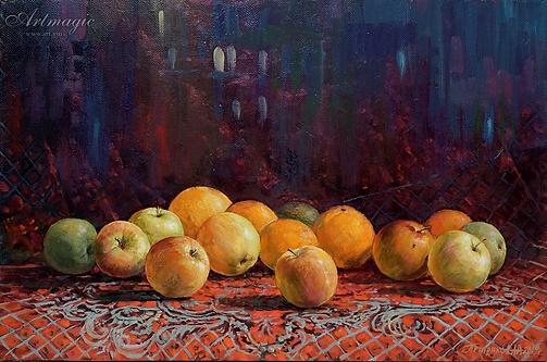 Осенние яблоки | натюрморт с кувшином  | картина с натюрмортом | Алексей Петриков | Alex Petrikov | Landscape | пейзаж | природа | art.vin | Artmagic | Артмагия