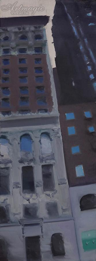 City | сити | Илья Балавадзе | городской пейзаж | высотки | картина маслом | Ilia Balavadze | artmagic | art.vin | Артмагия