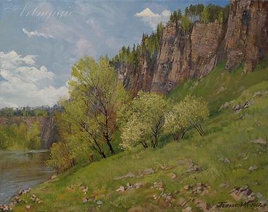 Первая зелень | картина с пейзажем | Алексей Петриков | Alex Petrikov | Landscape | пейзаж | природа | art.vin | Artmagic | Артмагия