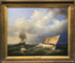 Стоянка у побережья | Shipping off the coast | XIX век | Carl Eduard Detloff | Карл Эдуард Детлофф | seascape | marine landscape | Морской пейзаж | art.vin | Artmagic | Артмагия