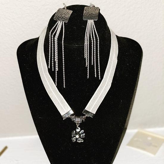White earring and choker set
